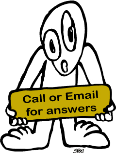 Cartoon Holding Sign to Call or Email